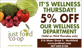 5% Off Our Wellness Department