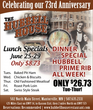 Dinner Special Hubbell Prime Rib All Week