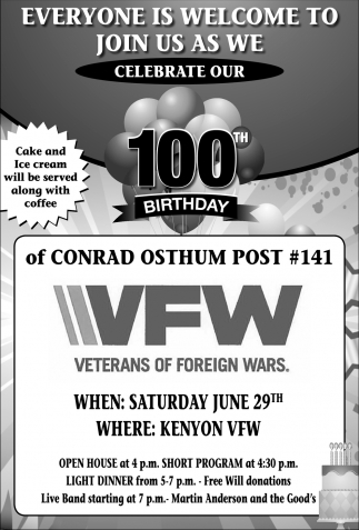 Everyone is welcome to join us as we celebrate our 100th birthday