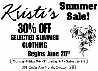 Summer sale - 30% off selected summer clothing