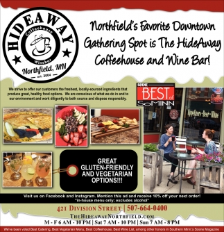 Northfield's Favorite Downtown Gathering Spot is The HideAway Coffeehouse and Wine Bar