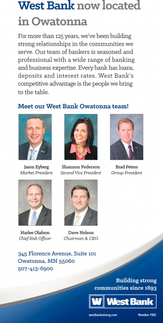 west Bank now Located in Pwatonna