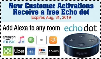 New Customers Activations Receive a free Echo dot