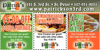 Get One Breakfast Entree 1/2 Price!