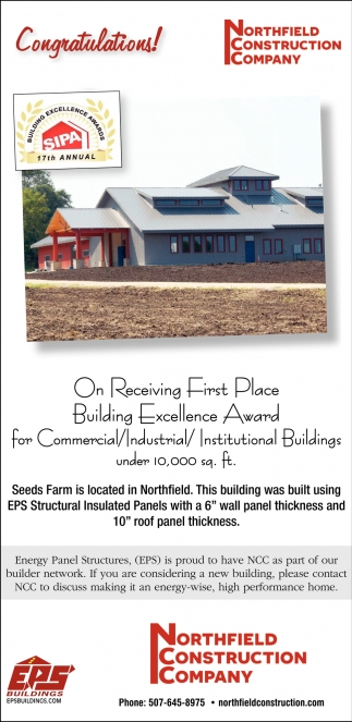 Congratulations! On Receiving First Place Building Excellence Award for Commercial / Industrial / Institutional Buildings under 10,000 sq. ft.