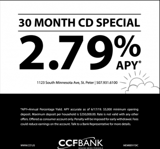30 month CD special 2.79% APY*