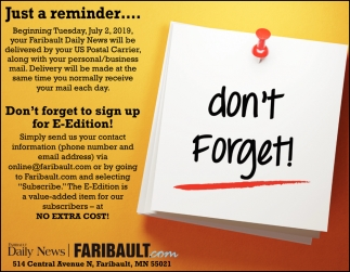 Don't forget to sign up for E-Edition