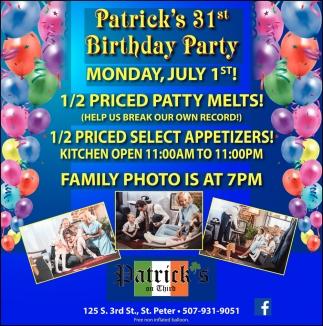 Patrick's 31st Bithday Party - July 1st!