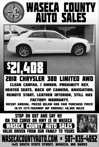 $21,408 - 2018 Chrysler 300 Limited AWD