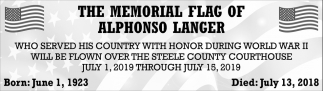 Memorial Flag of Alphonso Langer