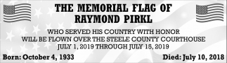 Memorial Flag of Raymond Pirkl