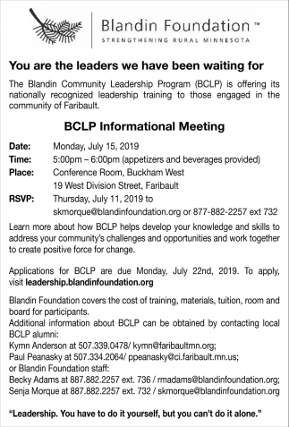 BCLP Informational Meeting