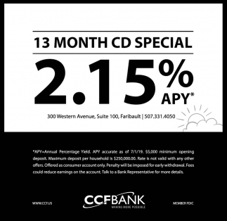 13 Month CD Special 2.15% APY