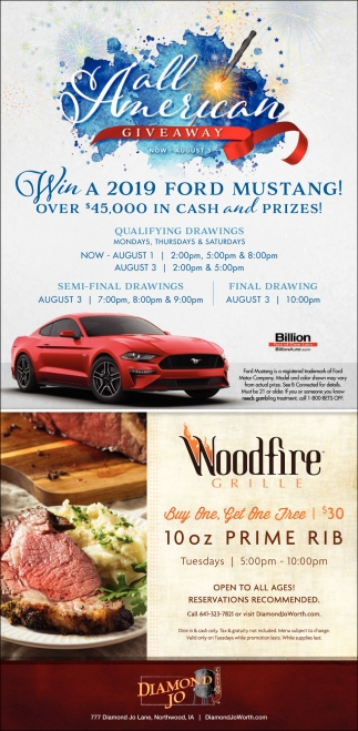 Win a 2019 Ford Mustang! | Woodfire Grille