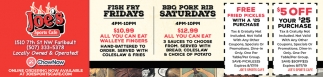 Fish Fry Fridays |BBQ Pork Rib Saturdays
