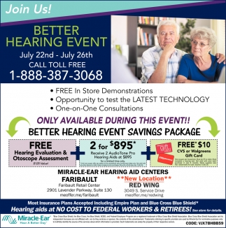 Better Hearing Event  - July 22nd - July 26th