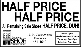 All Remaining Sale Shoes - Half Price