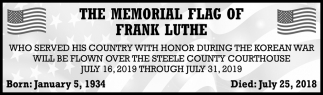 Memorial Flag of Frank Luthe