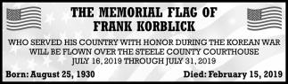 Memorial Flag of Frank Korblick