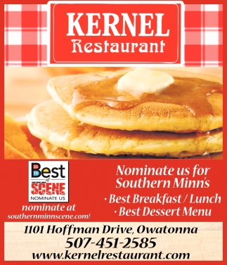 Nominate us for Southern Minn's: Best Breakfast /Lunch - Beste Dessert Menu