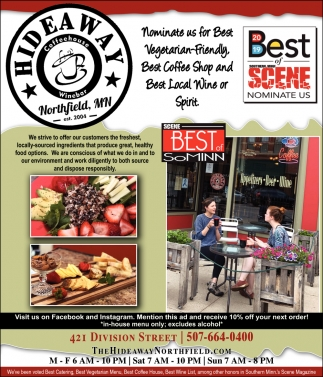 Nominate us for Best Vegetarian Friendly, Best Coffee Shop and Best Local Wine or Spirit