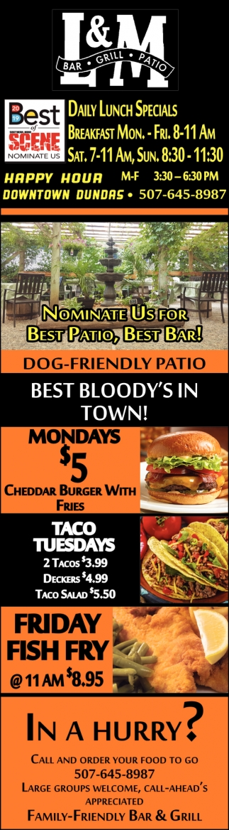 Nominate us for Best Patio, Best Bar!