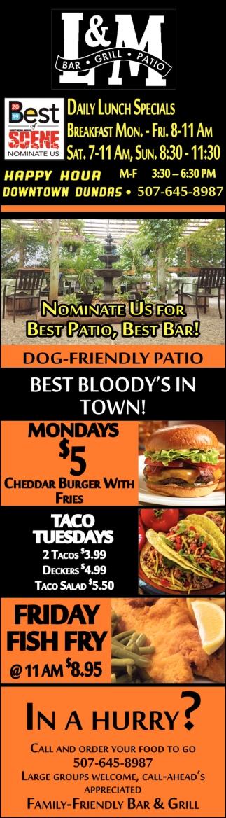 Nominate us for Best Patio, Best Bar!