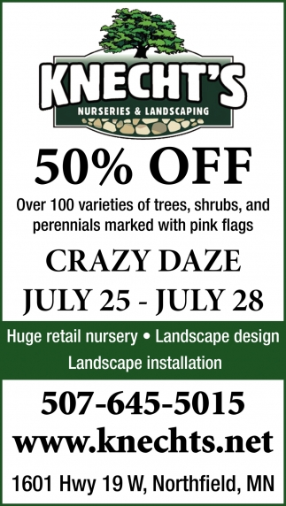 50% off over 100 varietes of trees, shrubs, and perennials marked with pink flags