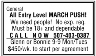 All Entry Level MARCH PUSH!