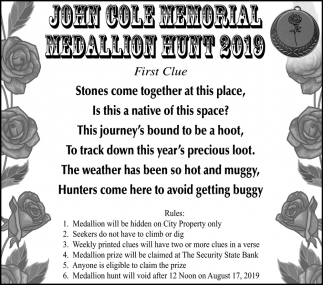 John Cole Memorial Medallion Hunt 2019