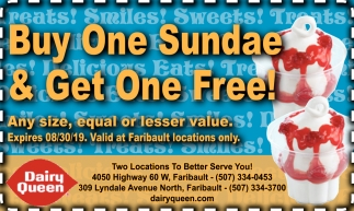 Buy One Sundae & Get One Free!