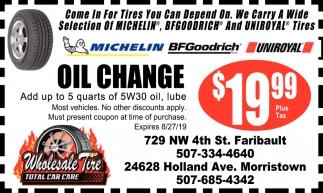 Oil Change $19.99