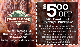 $5.00 off $40 food and beverage purchase