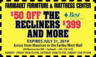 $50 oof the recliners $399 and more