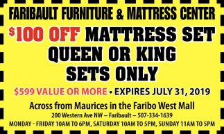 $100 off mattress set queen or king sets only