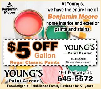 $5 Off per Gallon Regal Classic Paints