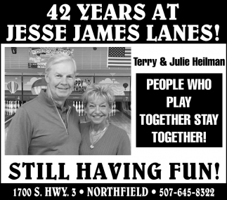42 years at Jesse James Lanes! - Terry & Julie Heilman