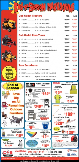 End of Season Markdowns