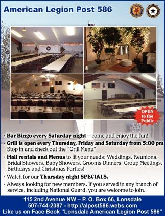 Bar Bingo - Grill - Hall Rental - Thursday Night Specials