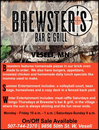 Brewsters features homemade pizzas in our brick oven made to order