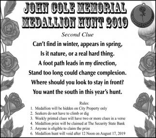 John Cole Memorial Medallion Hunt 2019