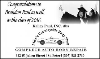 Congratulations to Brandon Paul as well as the class of 2016