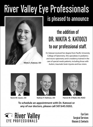 Is pleased to announce the addition of Dr. Nikita S. Katoozi to our professional staff