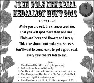 John Cole Memorial - Medallion Hunt 2019