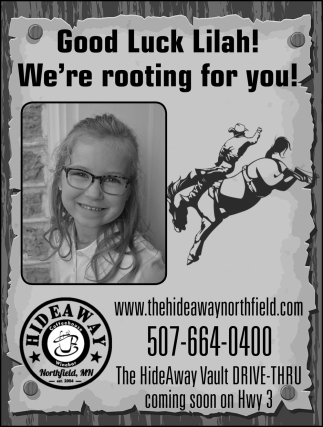 Good Luck Lilah! We're rooting for you!