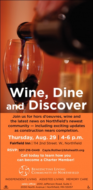 Wine, Dine and Discover Aug. 29