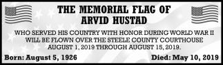 Memorial Flag of Arvid Hustad