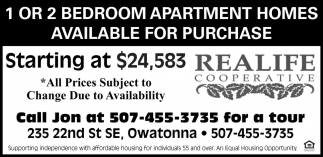 1 or 2 bedroom apartment homes available for purchase