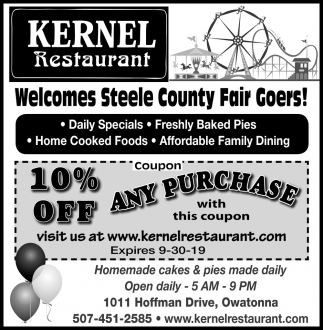 Welcomes Steele County Fair Goers!