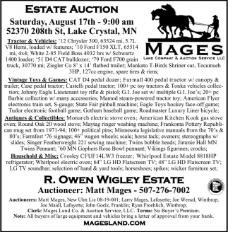 Estate Auction August 17th